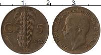 Изображение Монеты Италия 5 сентесим 1925 Бронза XF Виктор Эммануил III