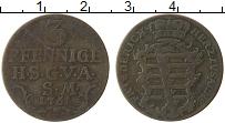 Изображение Монеты Саксе-Кобург-Саалфельд 3 пфеннига 1761 Медь VF