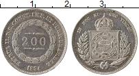 Изображение Монеты Бразилия 200 рейс 1854 Серебро XF