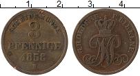 Изображение Монеты Германия Биркенфельд 3 пфеннига 1858 Медь XF-