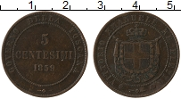 Изображение Монеты Тоскана 5 сентесим 1859 Медь XF- Витторио Эмануил