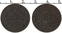 Изображение Монеты Сан-Марино 5 сентесим 1869 Медь XF- М