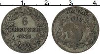 Изображение Монеты Баден 6 крейцеров 1848 Серебро VF