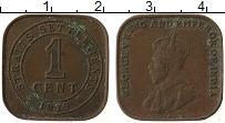 Изображение Монеты Стрейтс-Сеттльмент 1 цент 1919 Медь XF Георг V