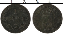 Изображение Монеты Баден 1 крейцер 1824 Медь VF