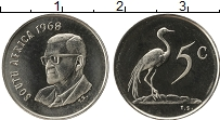 Изображение Монеты ЮАР 5 центов 1968 Медно-никель UNC-