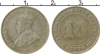 Изображение Монеты Стрейтс-Сеттльмент 10 центов 1913 Серебро VF Георг V