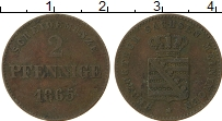 Изображение Монеты Саксе-Мейнинген 2 пфеннига 1865 Медь VF
