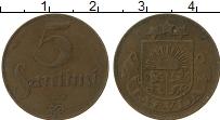 Изображение Монеты Латвия 5 сантим 1922 Латунь VF