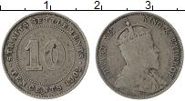 Изображение Монеты Стрейтс-Сеттльмент 10 центов 1902 Серебро VF Эдуард VII
