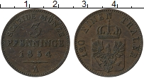 Изображение Монеты Пруссия 3 пфеннига 1854 Медь XF