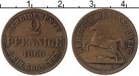 Изображение Монеты Германия Брауншвайг 2 пфеннига 1860 Медь XF
