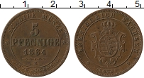 Изображение Монеты Саксония 5 пфеннигов 1864 Медь XF