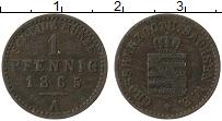 Изображение Монеты Саксен-Веймар-Эйзенах 1 пфенниг 1865 Медь XF А