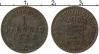 Изображение Монеты Саксен-Веймар-Эйзенах 1 пфенниг 1858 Медь XF А