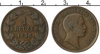 Изображение Монеты Баден 1 крейцер 1856 Медь XF Фридрих