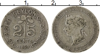 Изображение Монеты Цейлон 25 центов 1899 Серебро VF