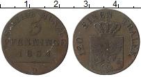 Изображение Монеты Пруссия 3 пфеннига 1834 Медь VF D