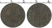 Изображение Монеты Пруссия 2 пфеннига 1859 Медь XF А