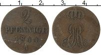 Изображение Монеты Ганновер 2 пфеннига 1844 Медь VF