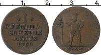 Изображение Монеты Брауншвайг-Вольфенбюттель 1 пфенниг 1780 Медь VF