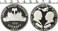 Изображение Монеты Гаити 100 гурдов 1977 Серебро Proof- Президенты