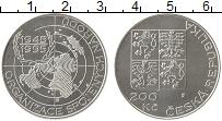 Изображение Монеты Чехия 200 крон 1995 Серебро UNC 50 ле ООН