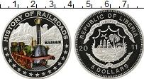 Изображение Монеты Либерия 5 долларов 2011 Серебро Proof История железных дор