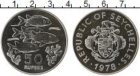 Изображение Монеты Сейшелы 50 рупий 1978 Серебро Proof- Сохранение животного