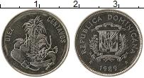 Продать Монеты Доминиканская республика 10 сентаво 1989 Сталь покрытая никелем