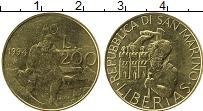 Изображение Монеты Сан-Марино 200 лир 1994 Латунь UNC ФАО