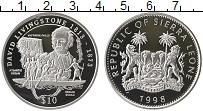 Изображение Монеты Сьерра-Леоне 10 долларов 1998 Серебро Proof