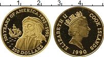 Изображение Монеты Острова Кука 250 долларов 1990 Золото Proof Елизавета II. 500 -