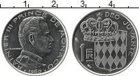 Изображение Монеты Монако 1 франк 1960 Медно-никель UNC Герб Монако. Раньер