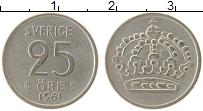 Изображение Монеты Швеция 25 эре 1961 Серебро XF