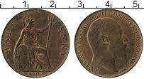 Изображение Монеты Великобритания 1/2 пенни 1902 Бронза XF+ Эдуард VII. Британни