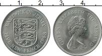 Изображение Монеты Остров Джерси 5 пенсов 1968 Медно-никель UNC- Елизавета II. Герб Д