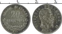 Изображение Монеты Италия 20 сентесим 1863 Серебро XF+ Витторио Эмануил II