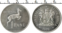 Изображение Монеты ЮАР 1 ранд 1972 Серебро UNC-