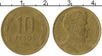 Изображение Монеты Чили 10 песо 1991 Латунь XF Бернардо О'Хиггинс