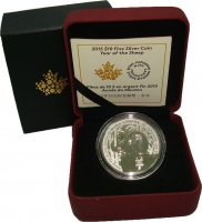 Изображение Подарочные монеты Канада 10 долларов 2015 Серебро UNC Год овцы. Серебро 99