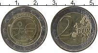 Изображение Монеты Словакия 2 евро 2009 Биметалл UNC- 10 лет Экономическом