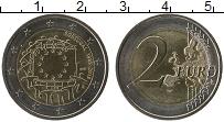 Изображение Монеты Португалия 2 евро 2015 Биметалл UNC 30 лет флагу Евросою