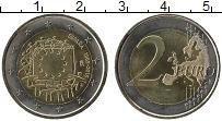 Изображение Монеты Испания 2 евро 2015 Биметалл UNC 30 лет флагу Европы
