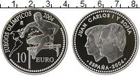 Изображение Монеты Испания 10 евро 2004 Серебро Proof Хуан Карлос I и Софи
