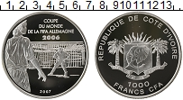 Изображение Монеты Африка Кот-д`Ивуар 1000 франков 2007 Серебро Proof