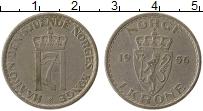 Изображение Монеты Норвегия 1 крона 1956 Медно-никель VF Хокон VII