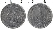 Изображение Монеты Веймарская республика 200 марок 1923 Алюминий XF F