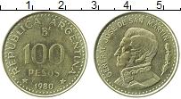 Изображение Монеты Аргентина 100 песо 1980 Латунь XF Генерал Хосе де Сан-