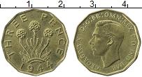 Изображение Монеты Великобритания 3 пенса 1944 Латунь UNC- Георг VI